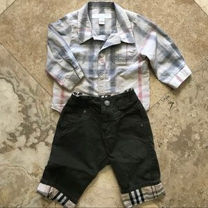 Burberry Button shirt & corduroy nova check pants